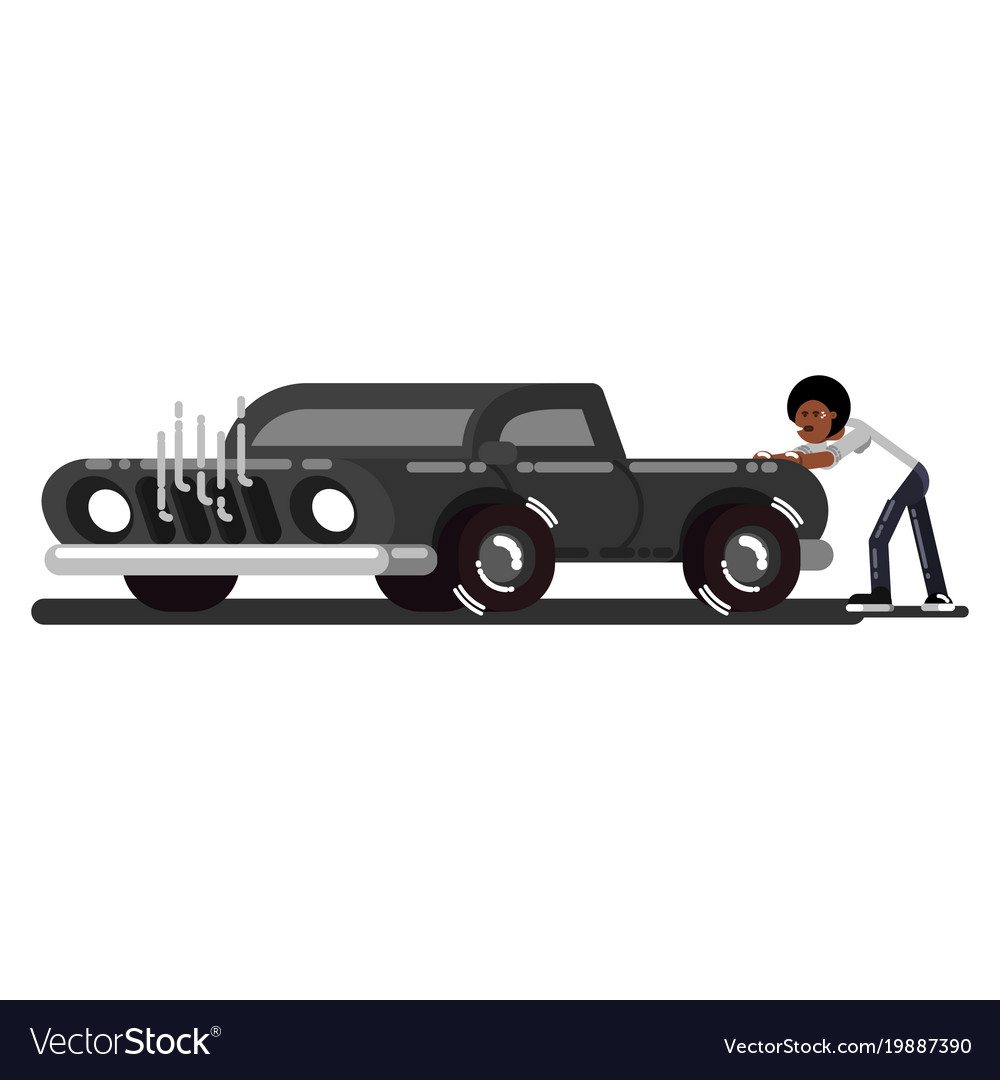 black man pushes the broken car royalty free vector image