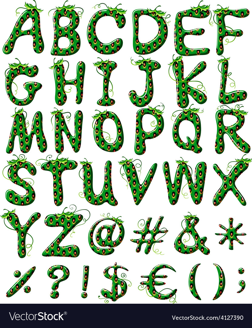 Capital letters of the alphabet in green color Vector Image