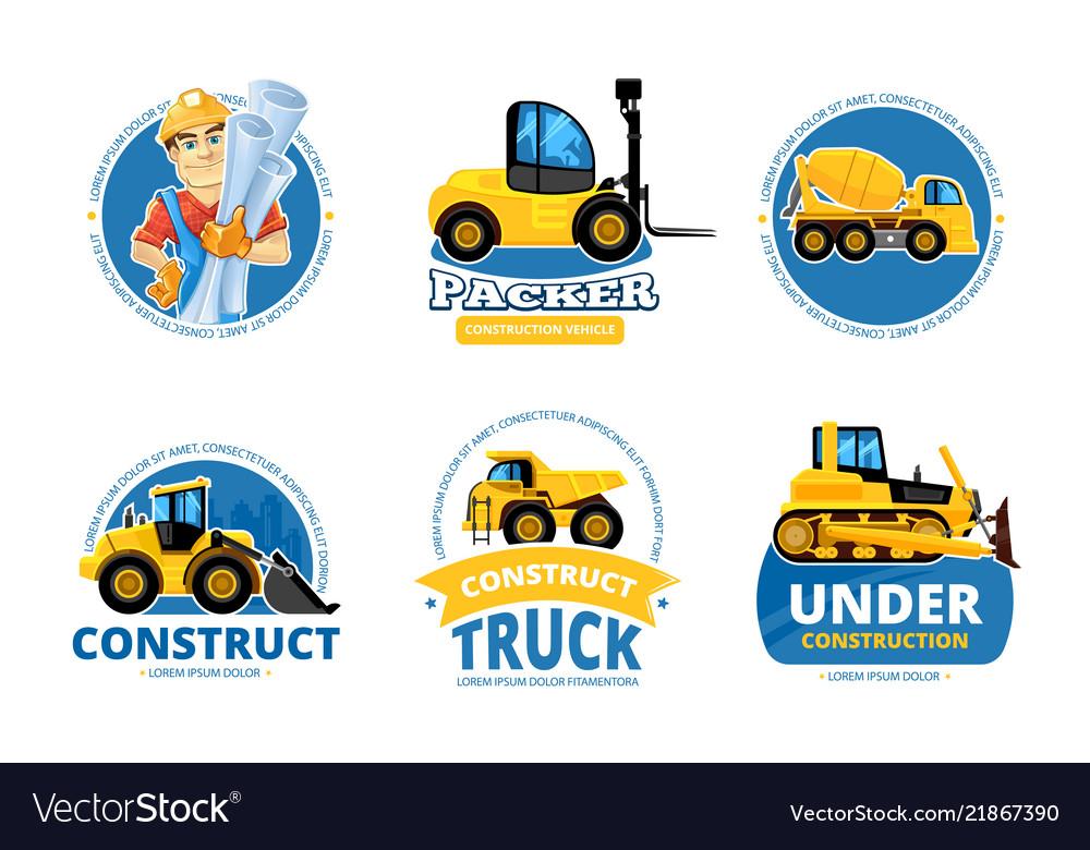 Construct machines logo heavy machinery vehicles