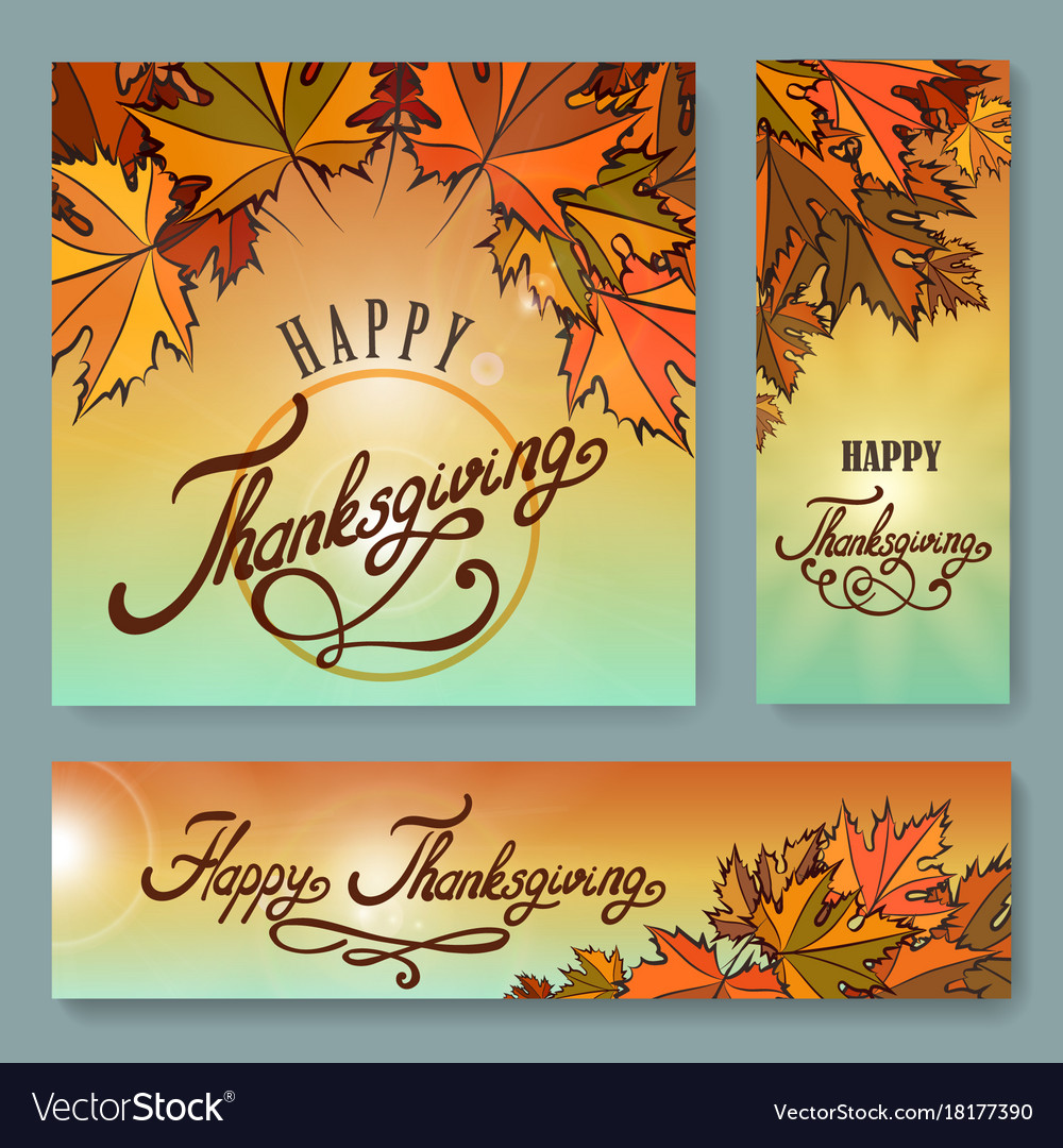 Happy thanksgiving day background set