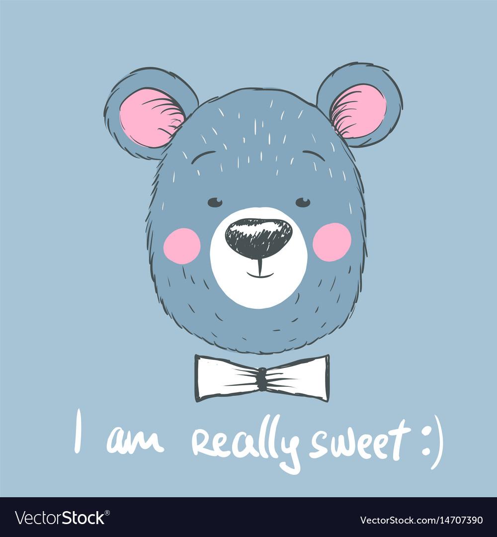 Head of cute blue bear vector image