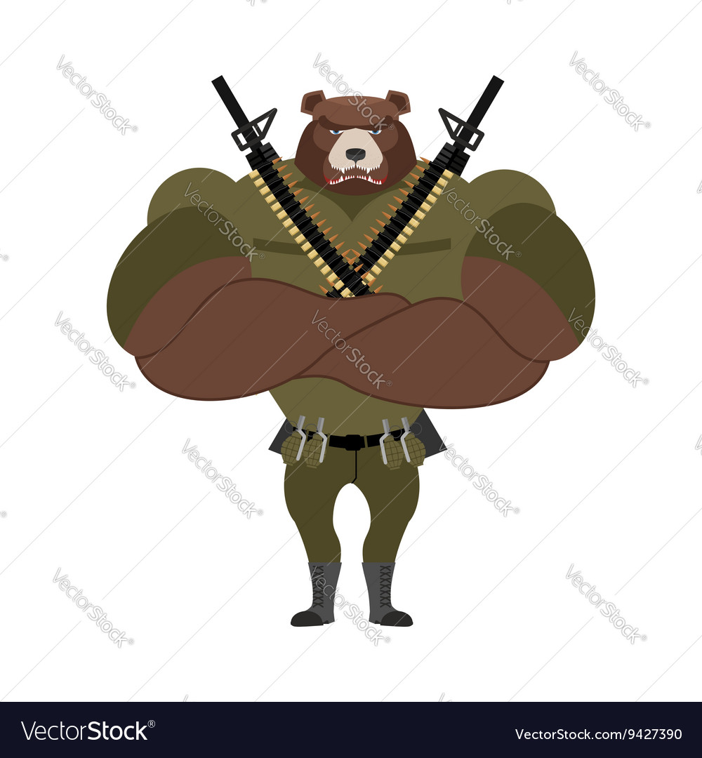 Military strong bear Powerful big monster soldiers vector image