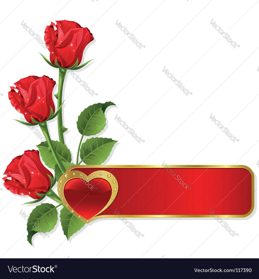 Roses and hearts design vector image