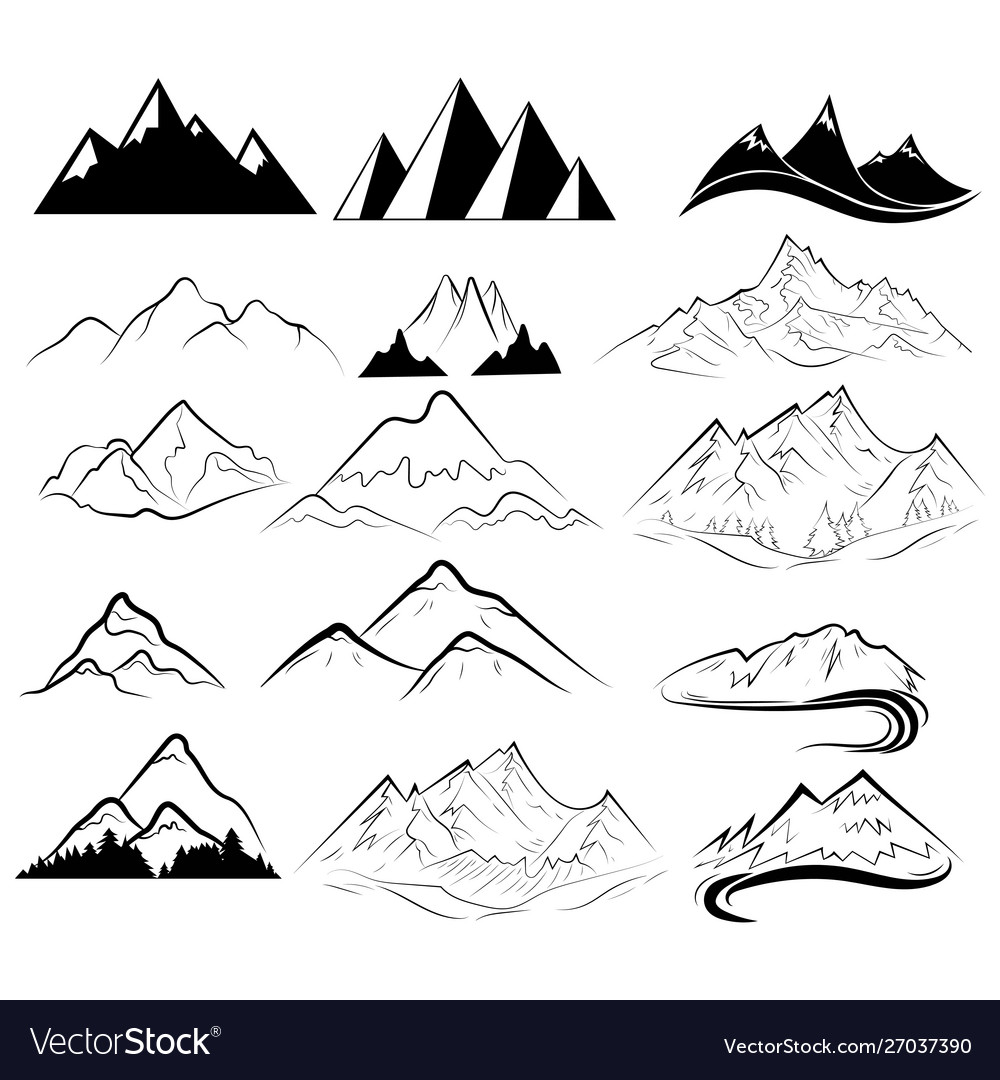 Set mountains collection stylized mountain vector