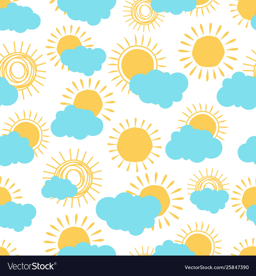 Sun and clouds seamless pattern