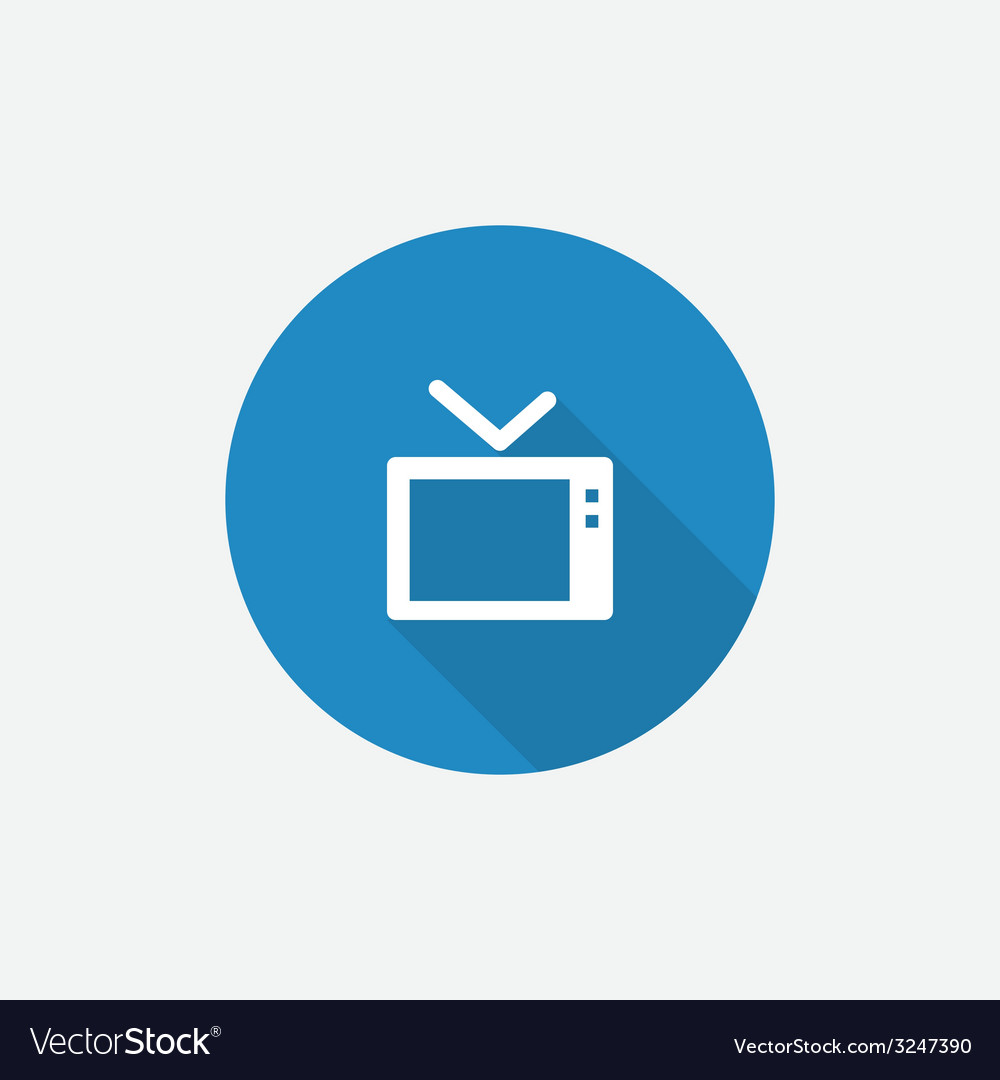 Tv Flat Blue Simple Icon with long shadow