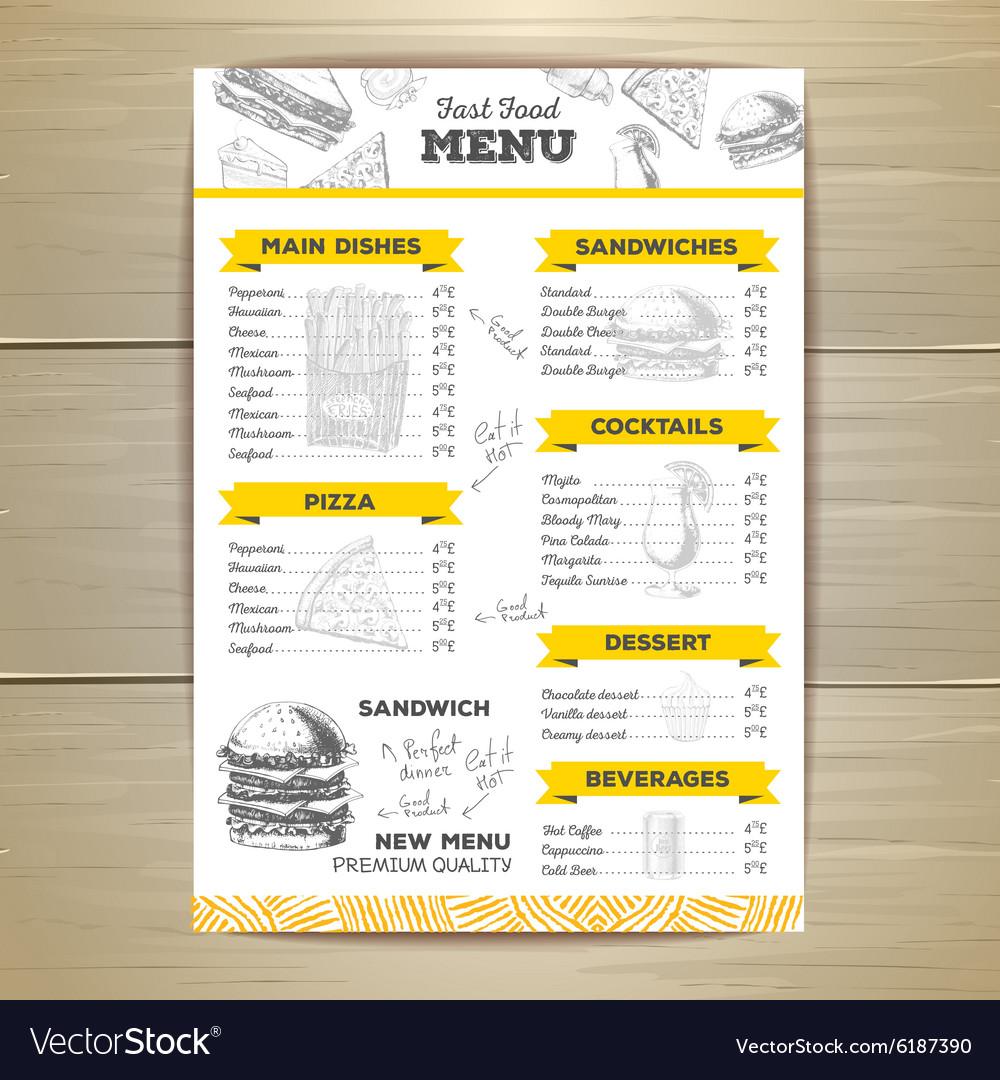 Vintage fast food menu design