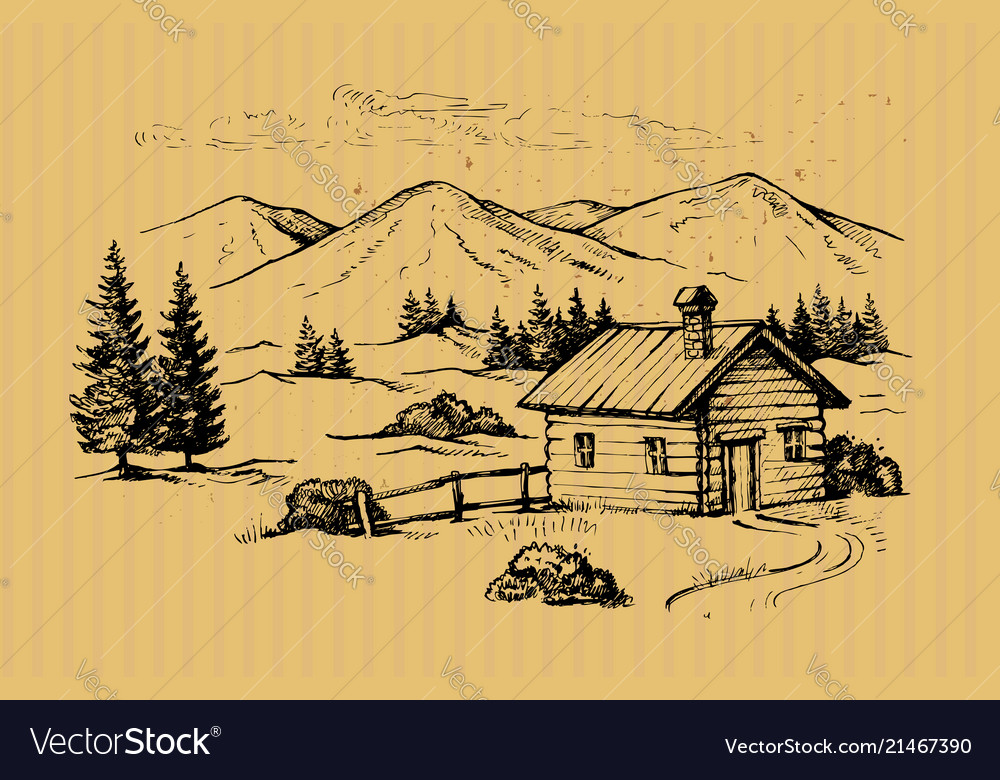 Wood cabin in mountains