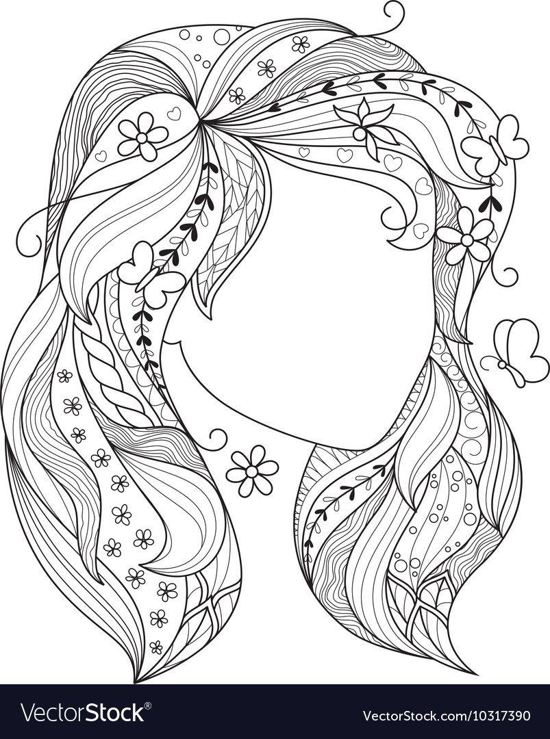 Zen art girl Portrait of a female with zentangle Vector Image