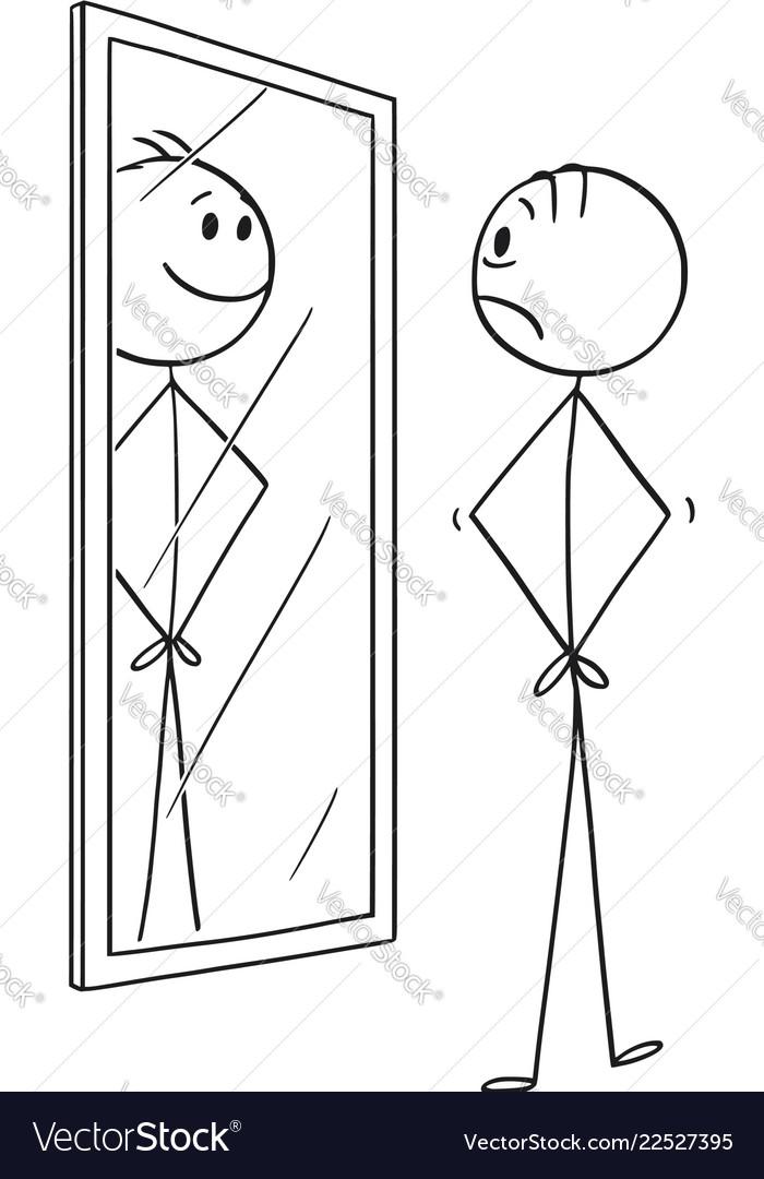 Cartoon of sad man looking at himself in the