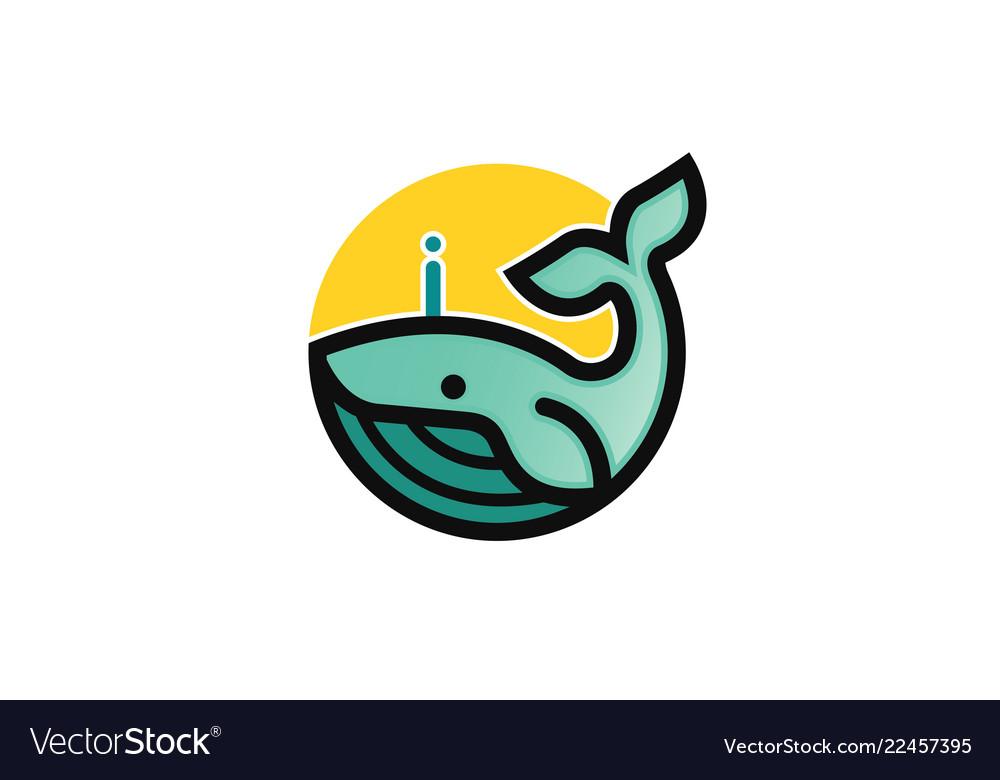 Creative blue dolphin whale logo