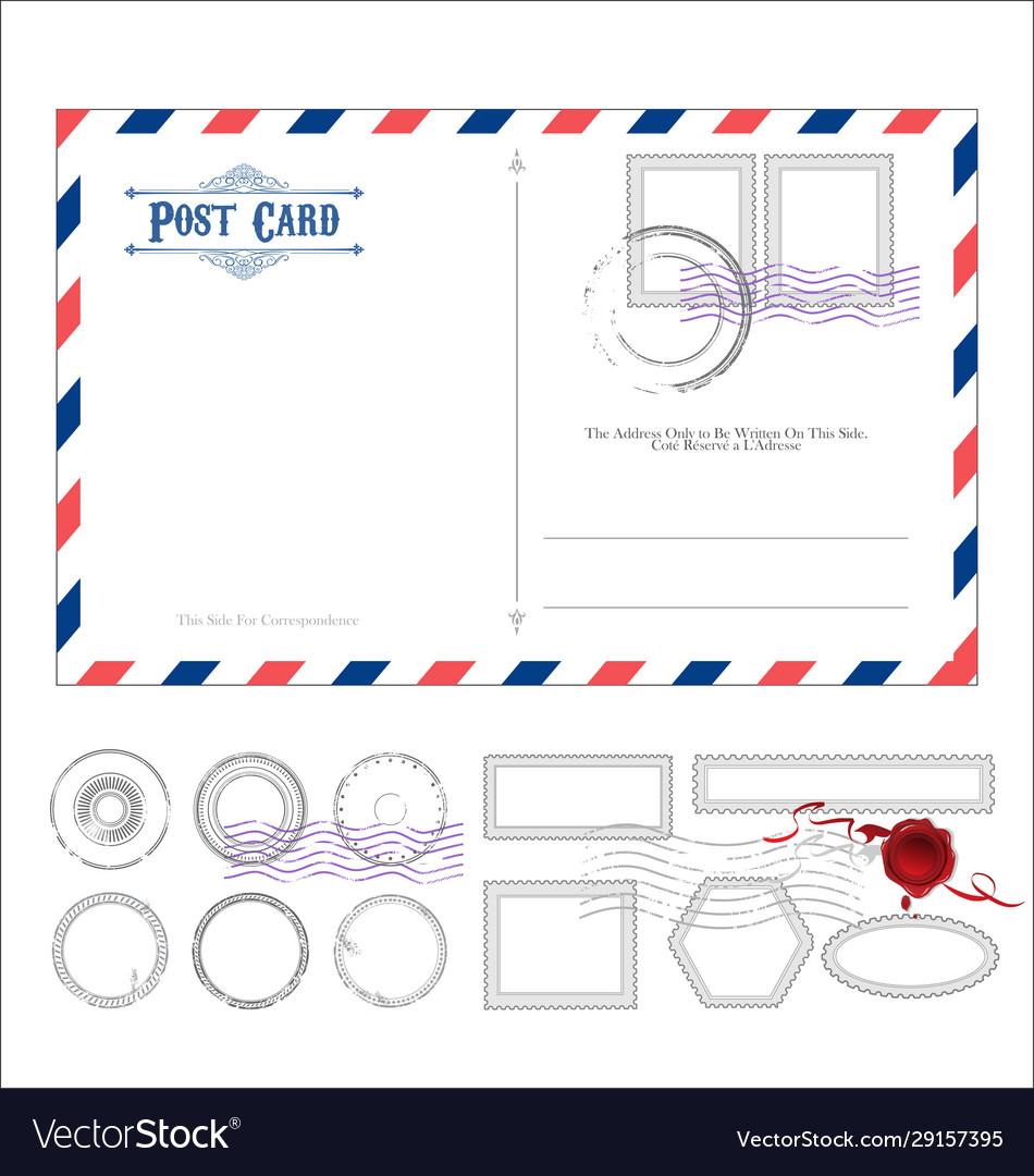 Empty post card retro vintage design 0115
