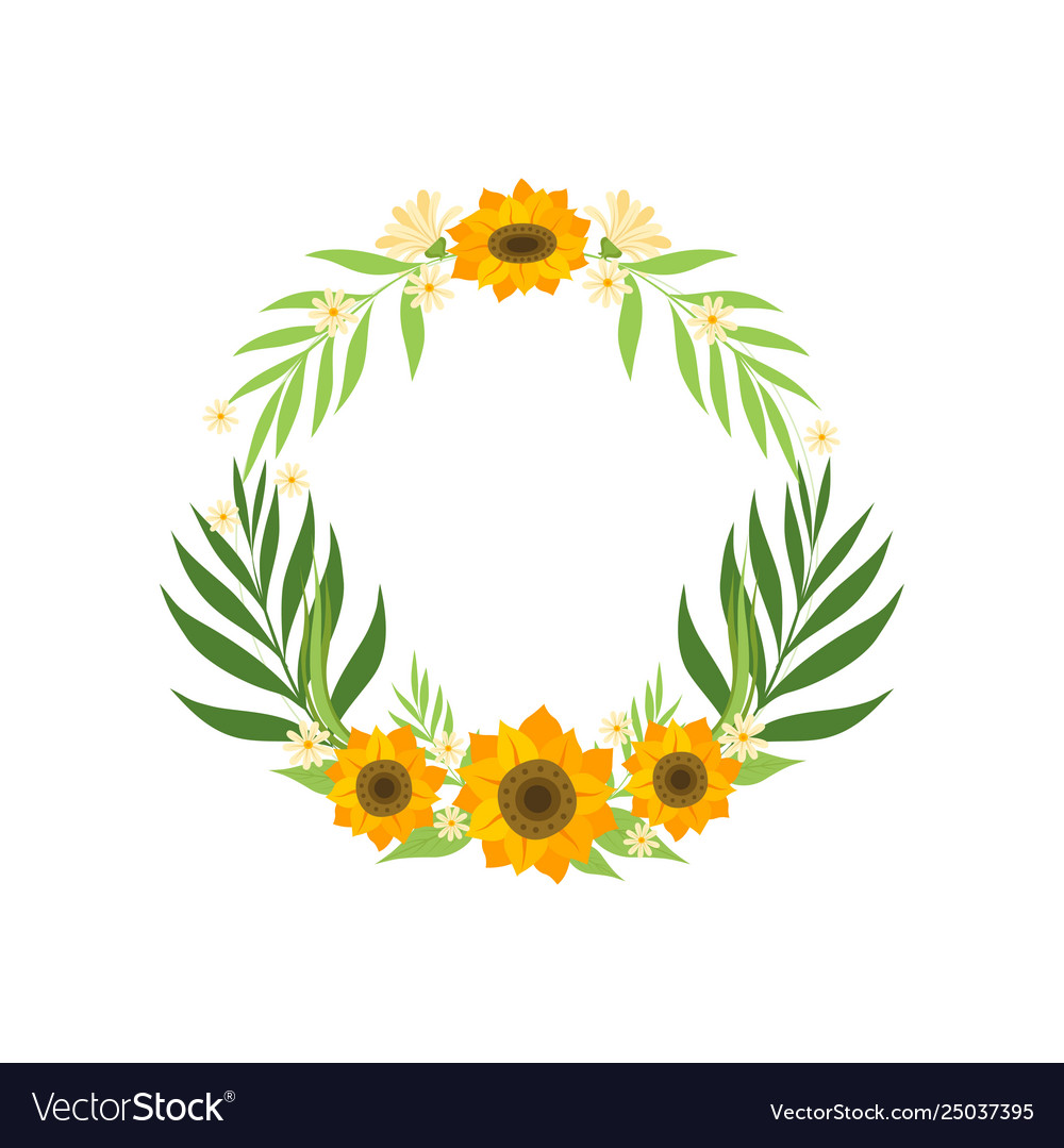 Floral wreath with sunflowers and leaves circle