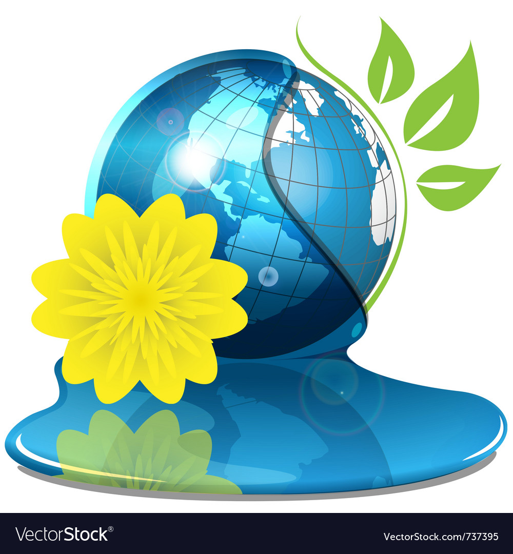 Globe with water and yellow flower