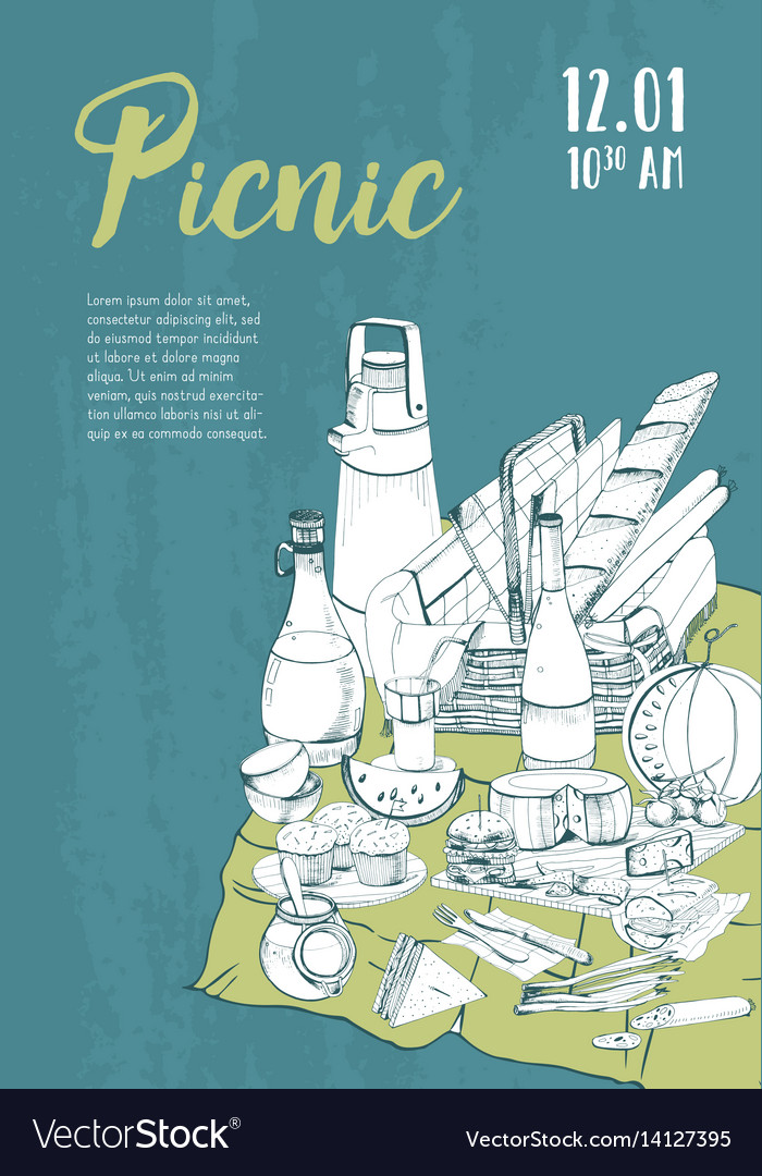 Hand drawn picnic poster placard with place for