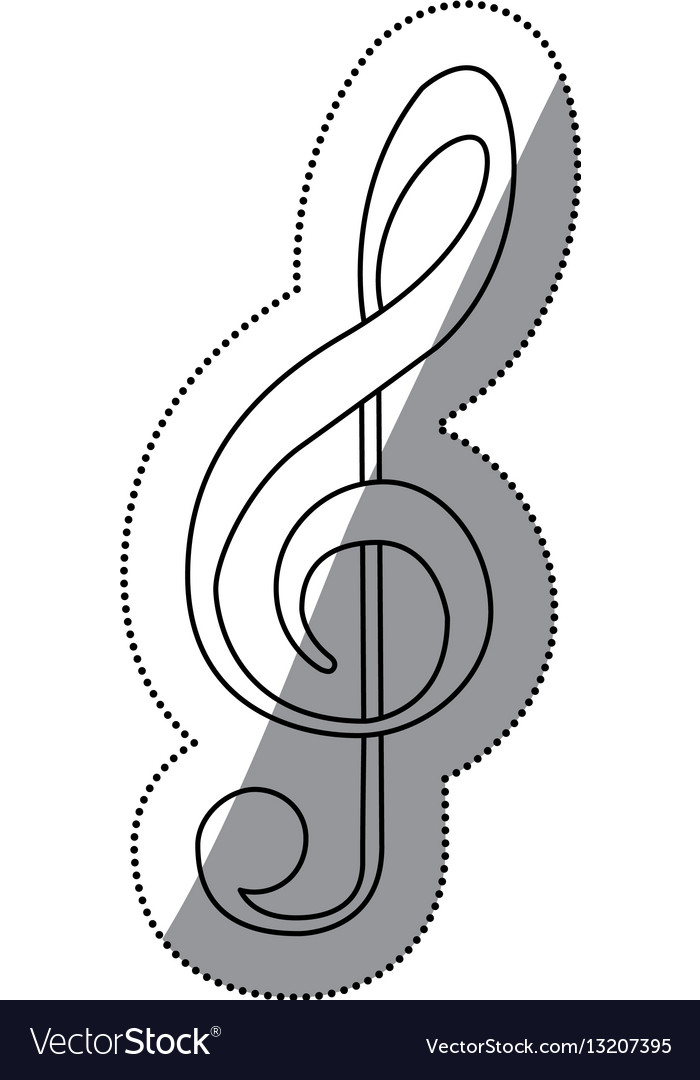 Monochrome contour silhouette with sign music vector image