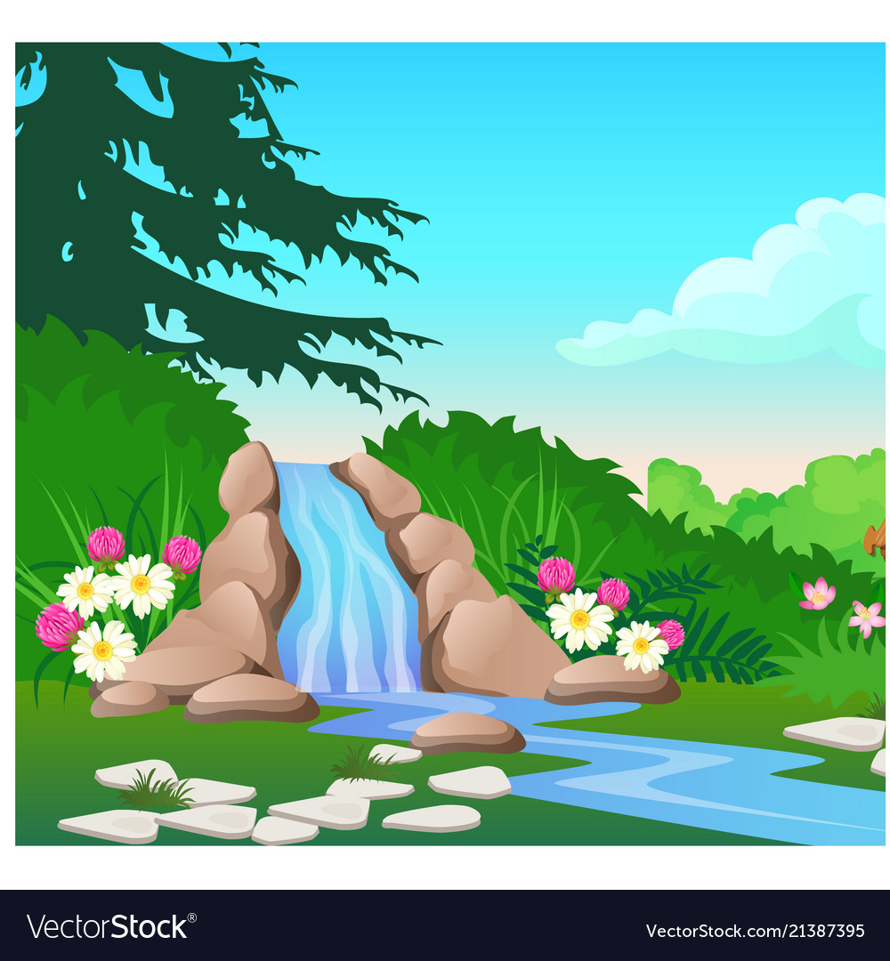 Picturesque landscape with a waterfall on the