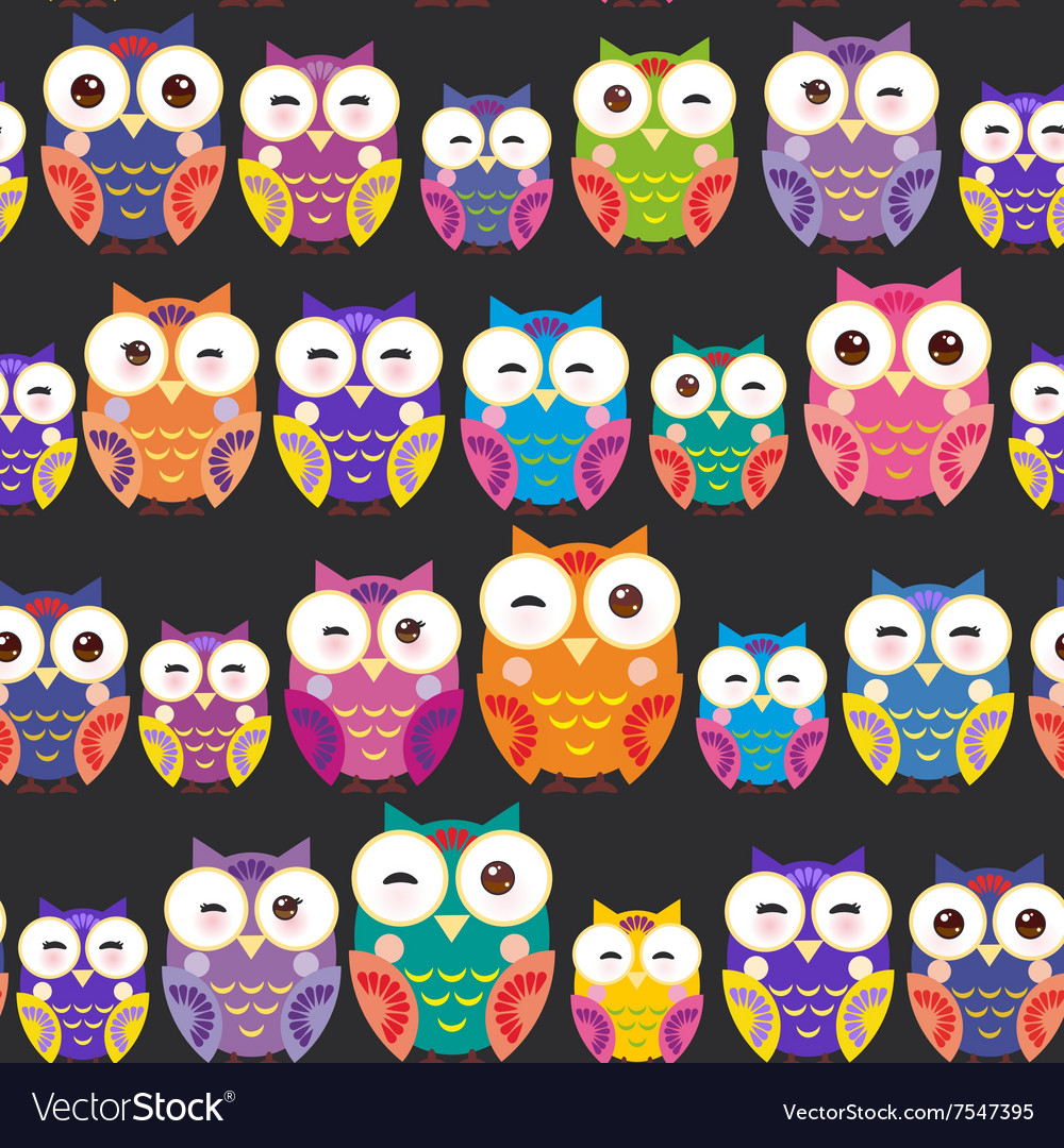 Seamless pattern - bright colorful owls on black