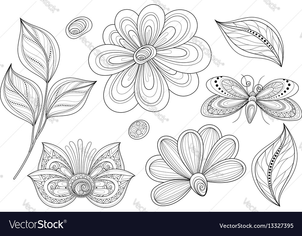Set of beautiful monochrome floral design vector image