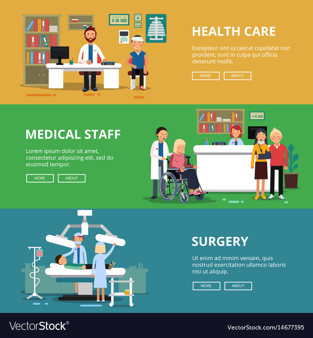 Three horizontal banners of healthcare vector image