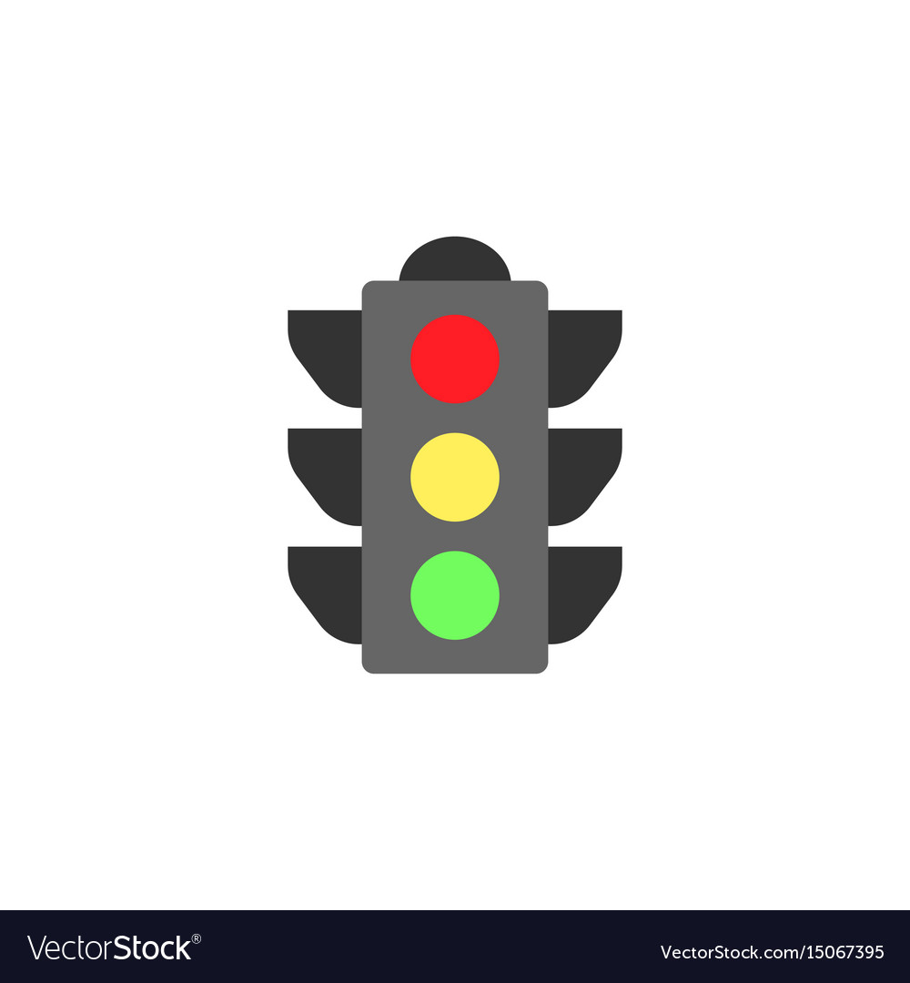 traffic light flat icon stop light and navigation vector image vectorstock