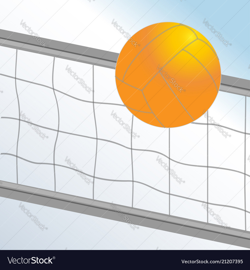Volleyball ball and net on light blue background