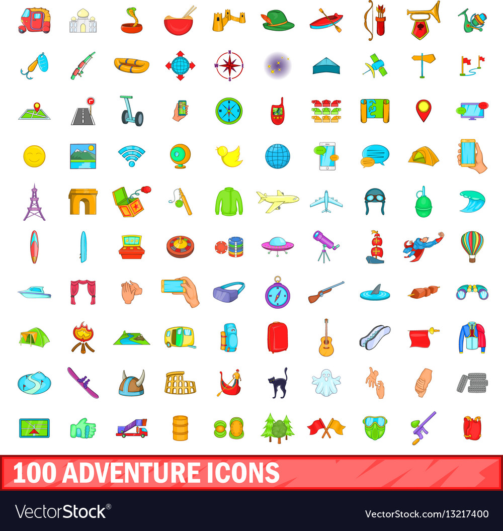 100 adventure icons set cartoon style vector image
