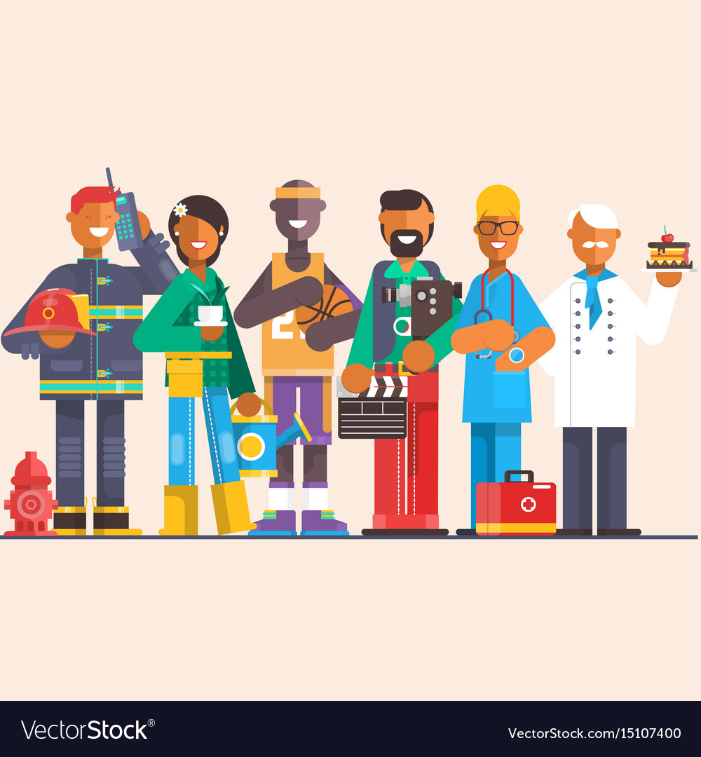 A group of people of different professions on an