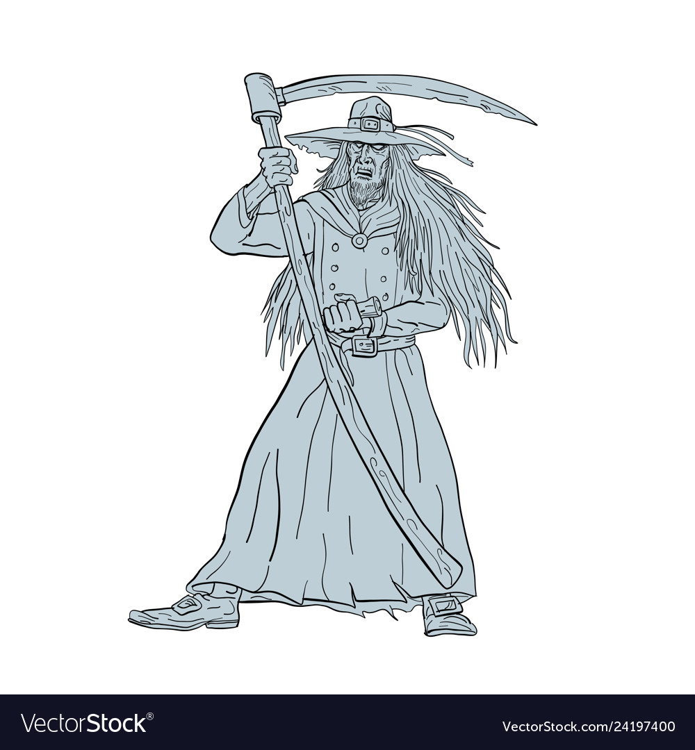 db4c84aa Ankou henchman of death with scythe drawing Vector Image