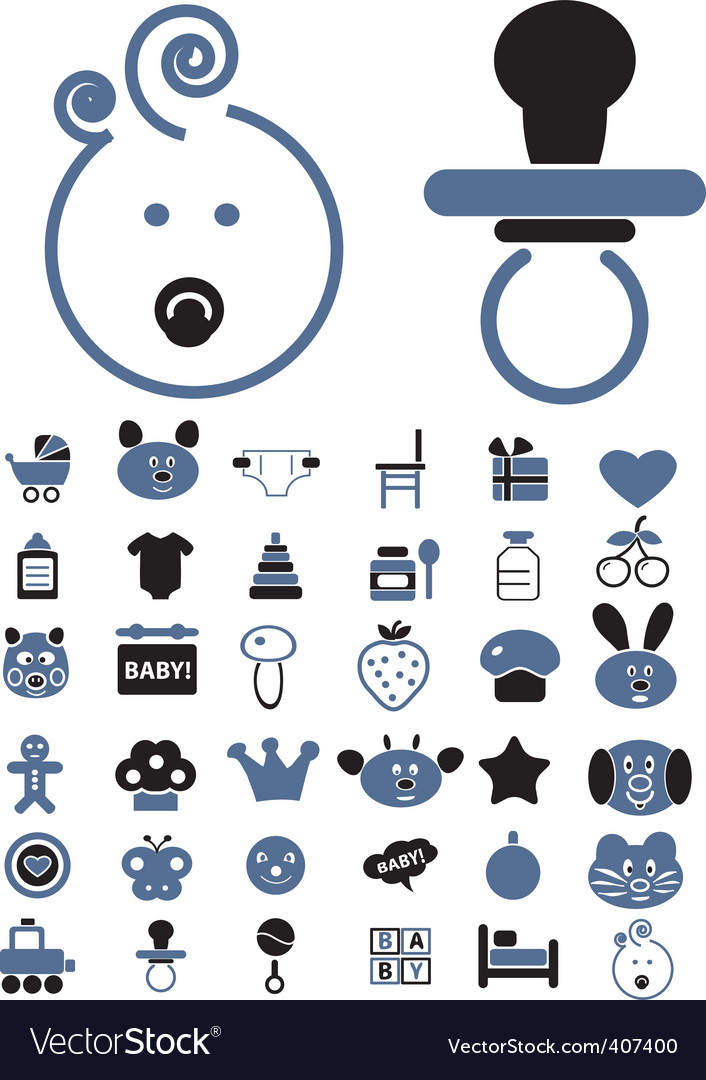 Baby birthday signs vector image