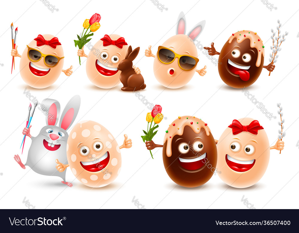 Easter eggs realistic characters set