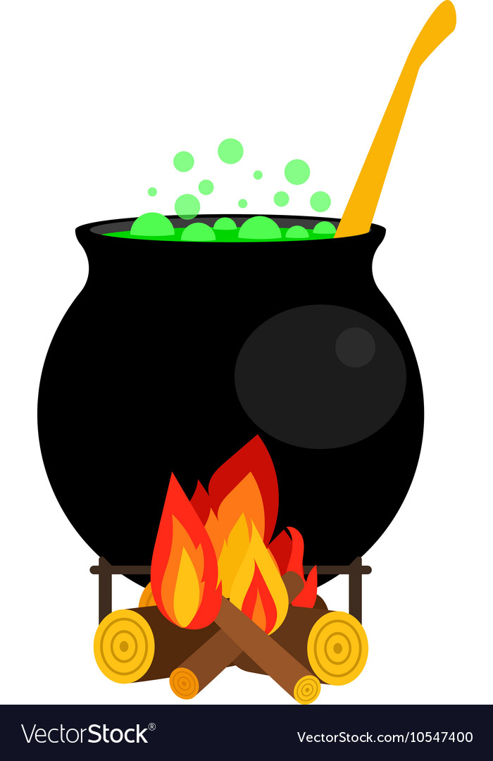 Halloween witch cauldron with green potion