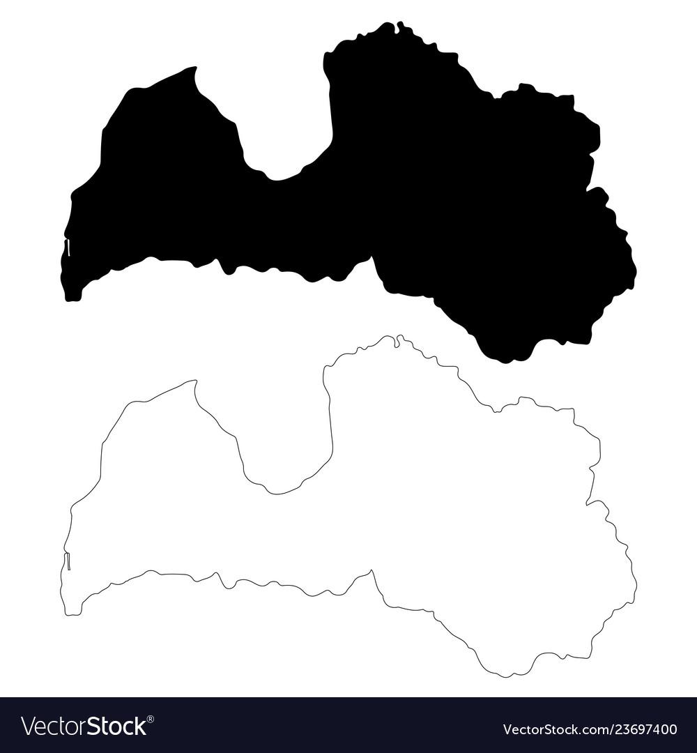 Map latvia isolated black on