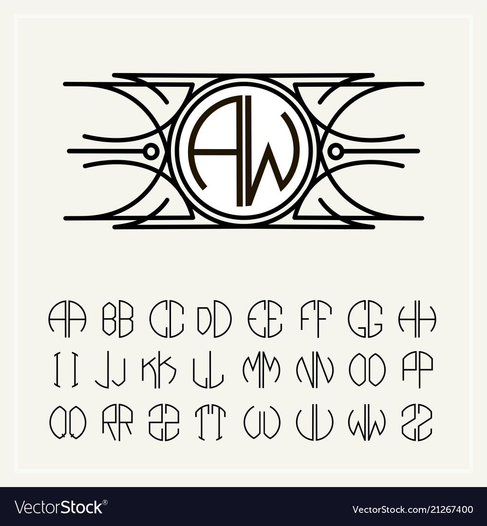 Monogram an art nouveau label with two letters