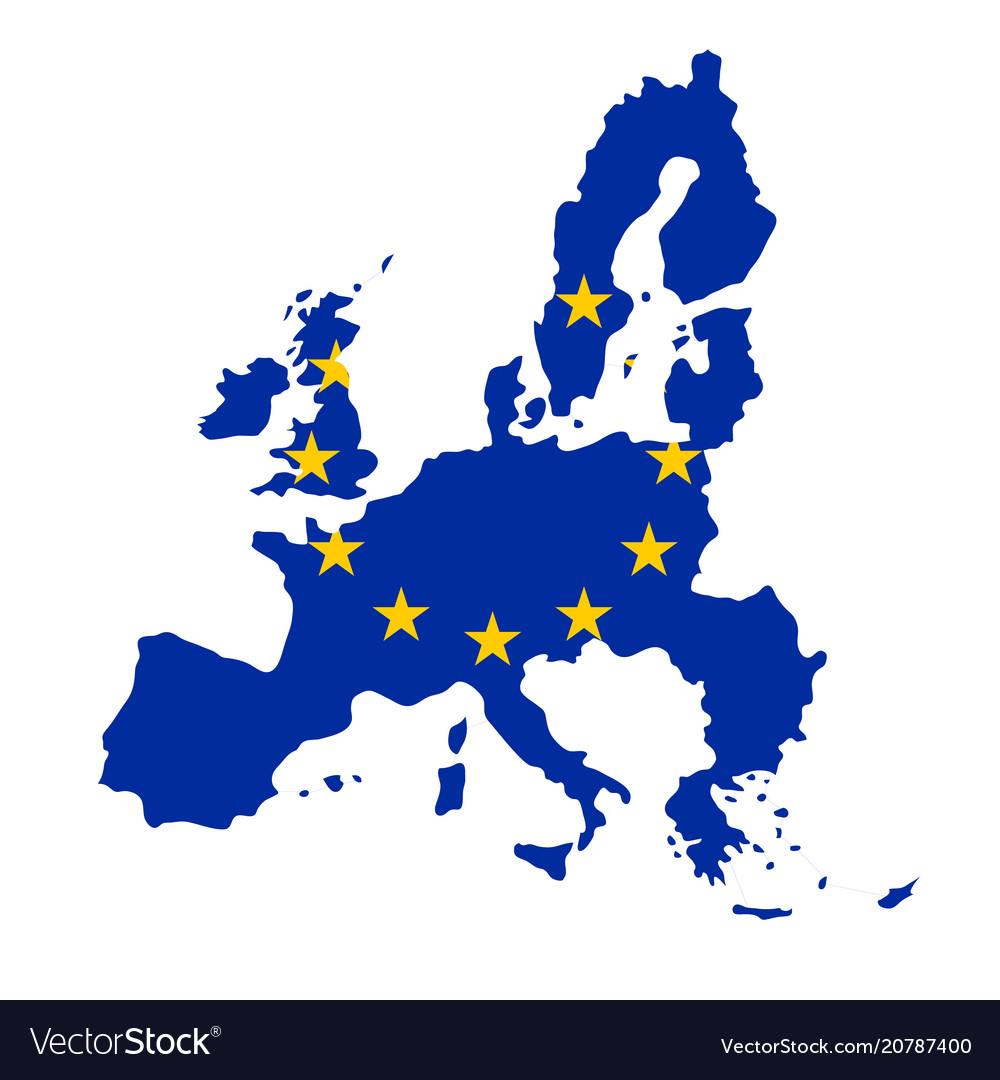 Silhouette country borders map of european union