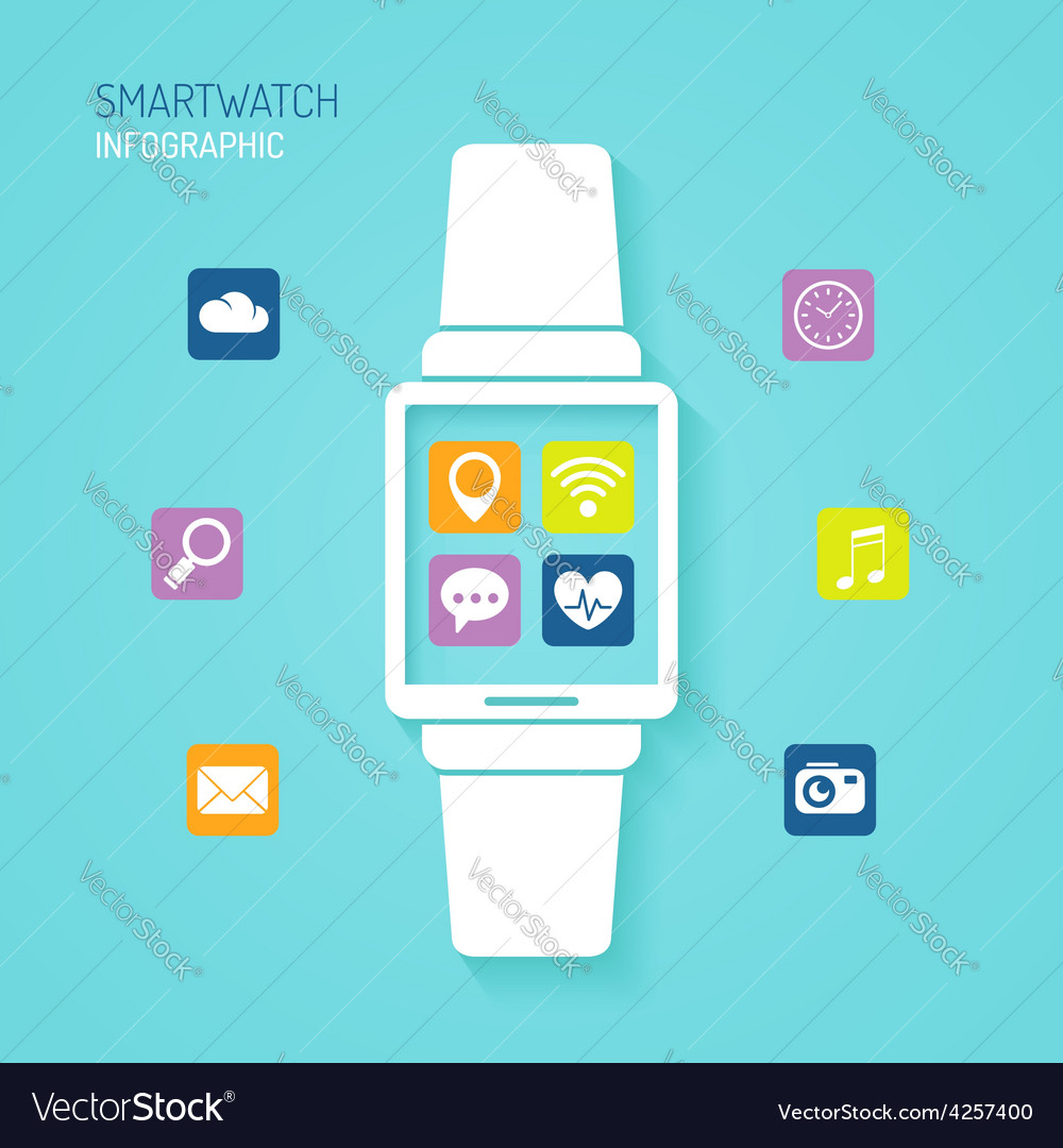 Smart watch wearable device with apps icons