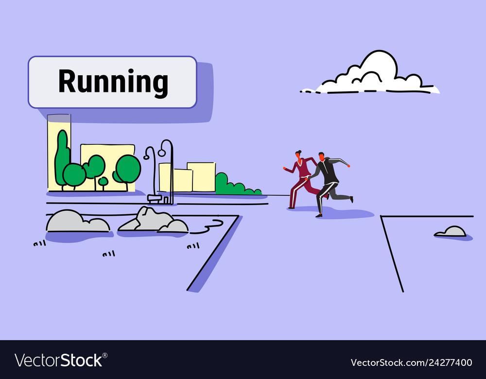 Sports man woman jogging runners couple running