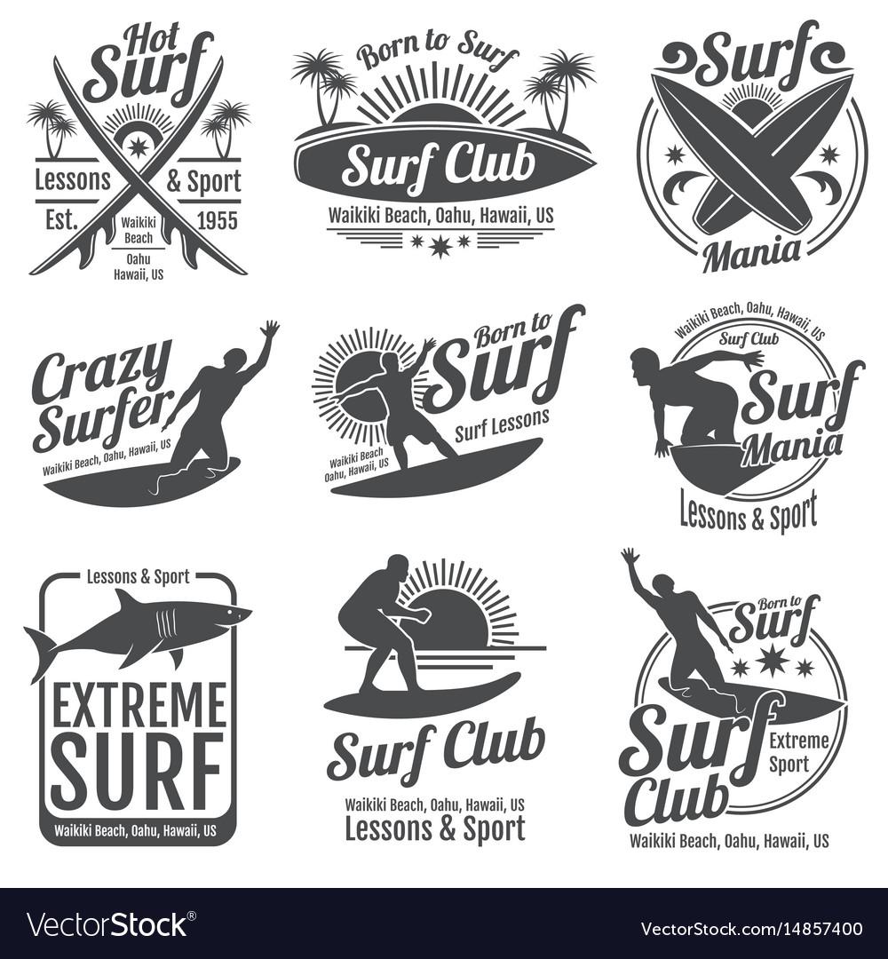 Surfing club vintage emblems surf board on
