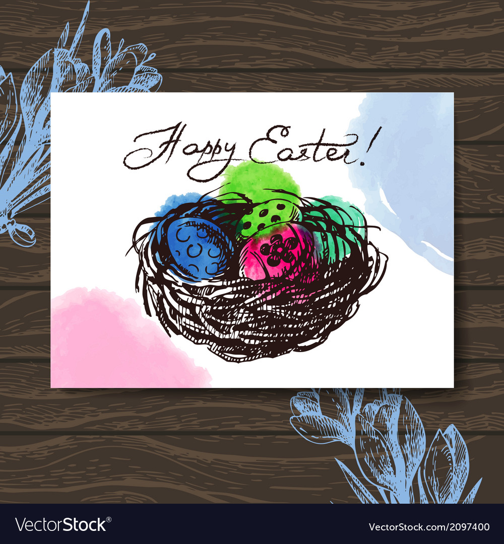 Vintage Easter greeting card hand drawn sketch vector image