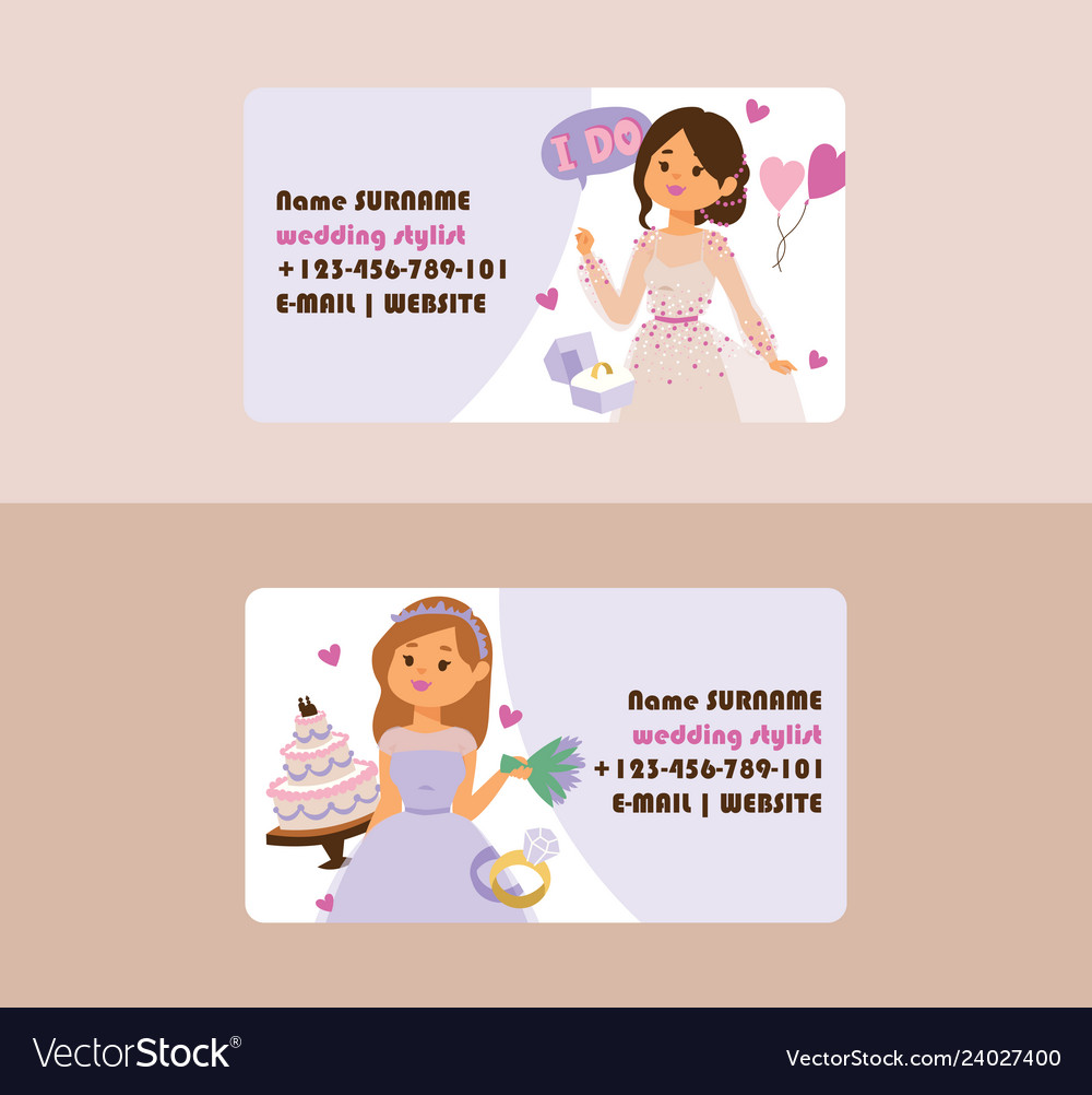 Wedding business card bridesmaid woman
