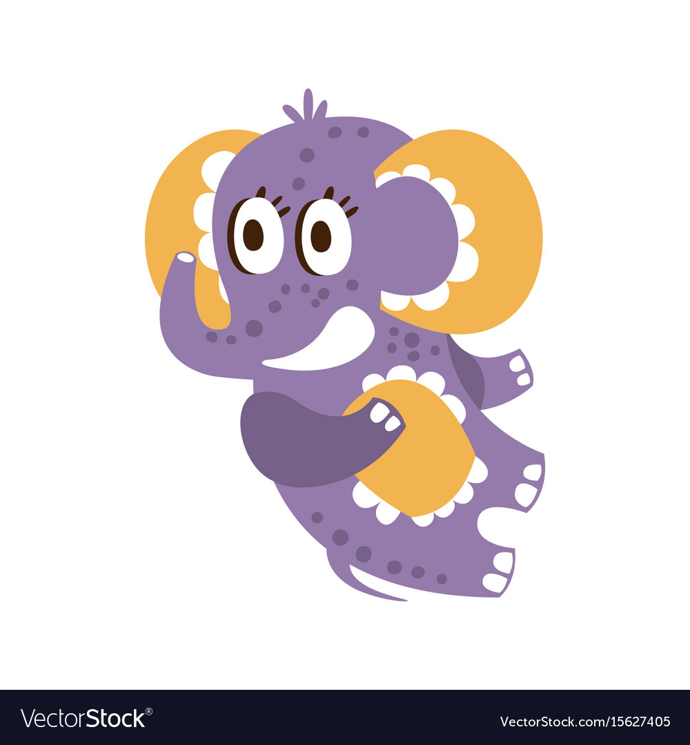 Adorable cartoon baby elephant character lying on vector image