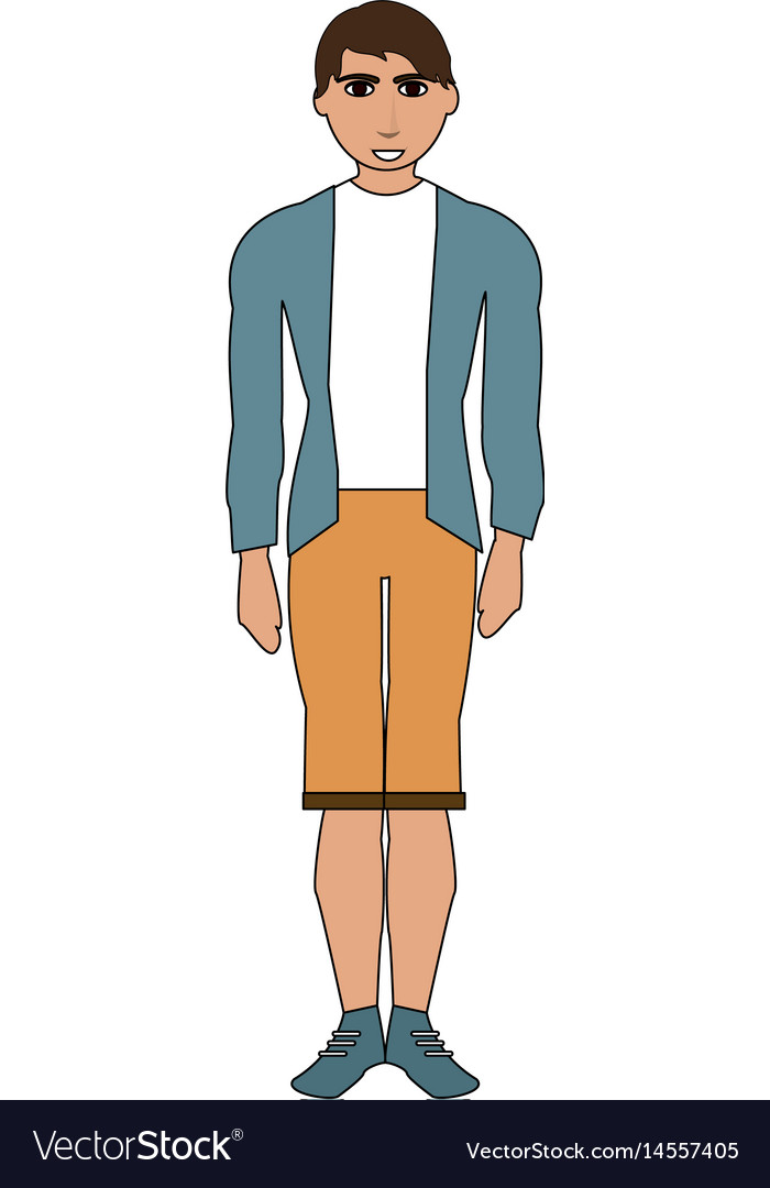 Color image cartoon full body man with shorts and vector image