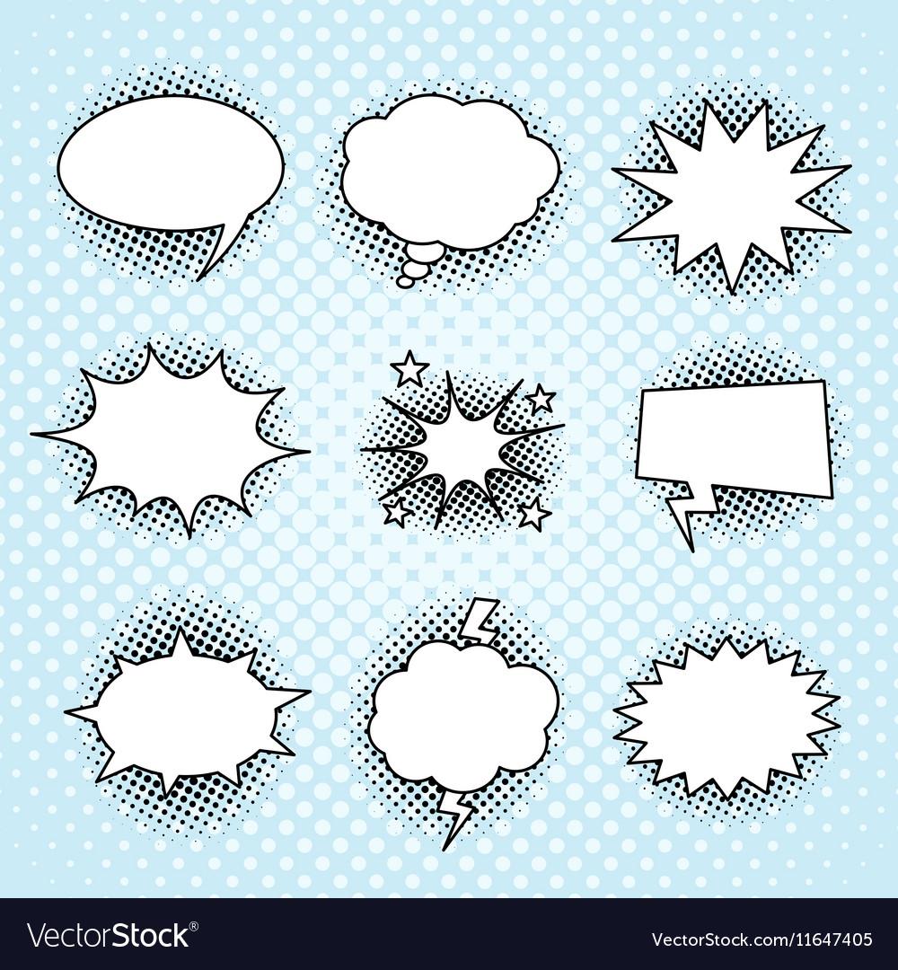 Comic speech bubbles set vintage halftone print