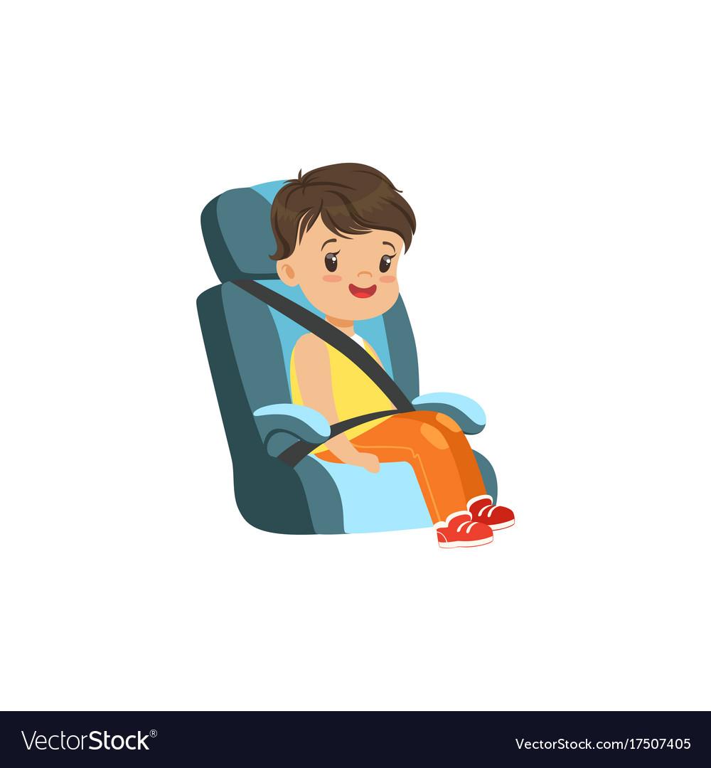 Cute little boy sitting in blue car seat safety