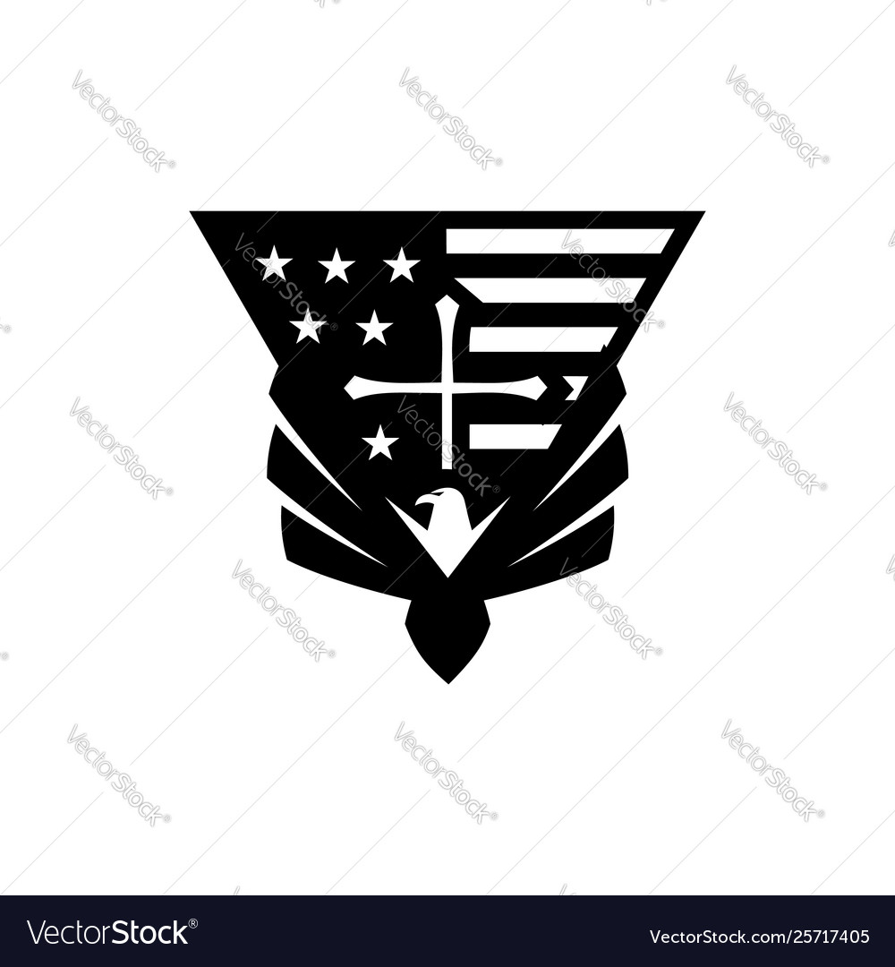 Eagle usa flag cross logo