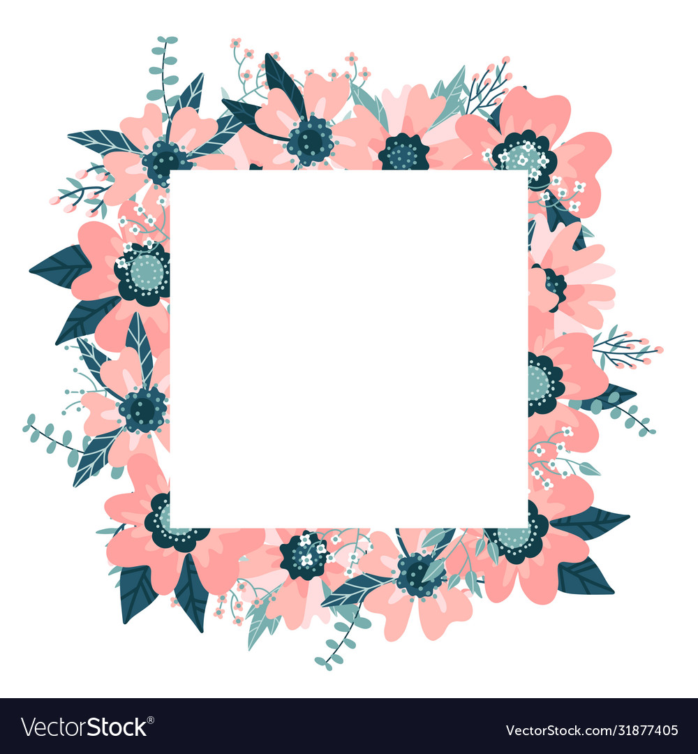 Floral frame isolated on white background
