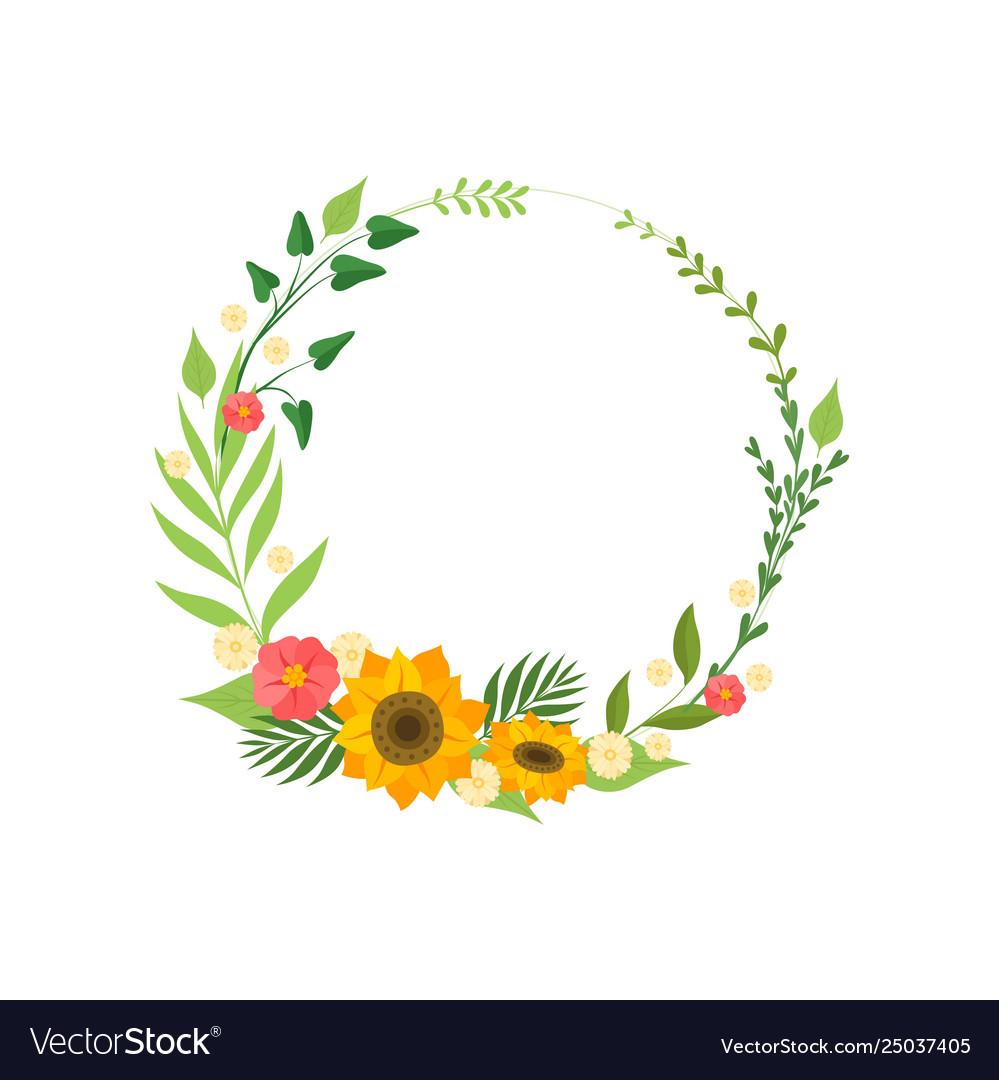 Floral wreath with blooming flowers and leaves