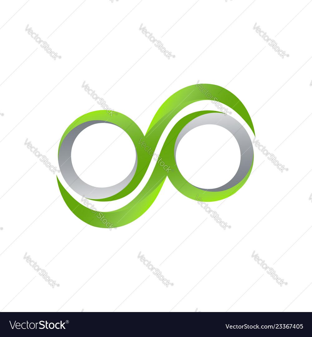 Green infinity logo template infinity design