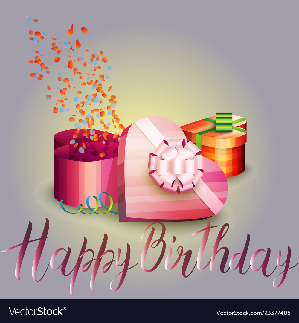 happy birthday beautiful greeting card with gift vector image