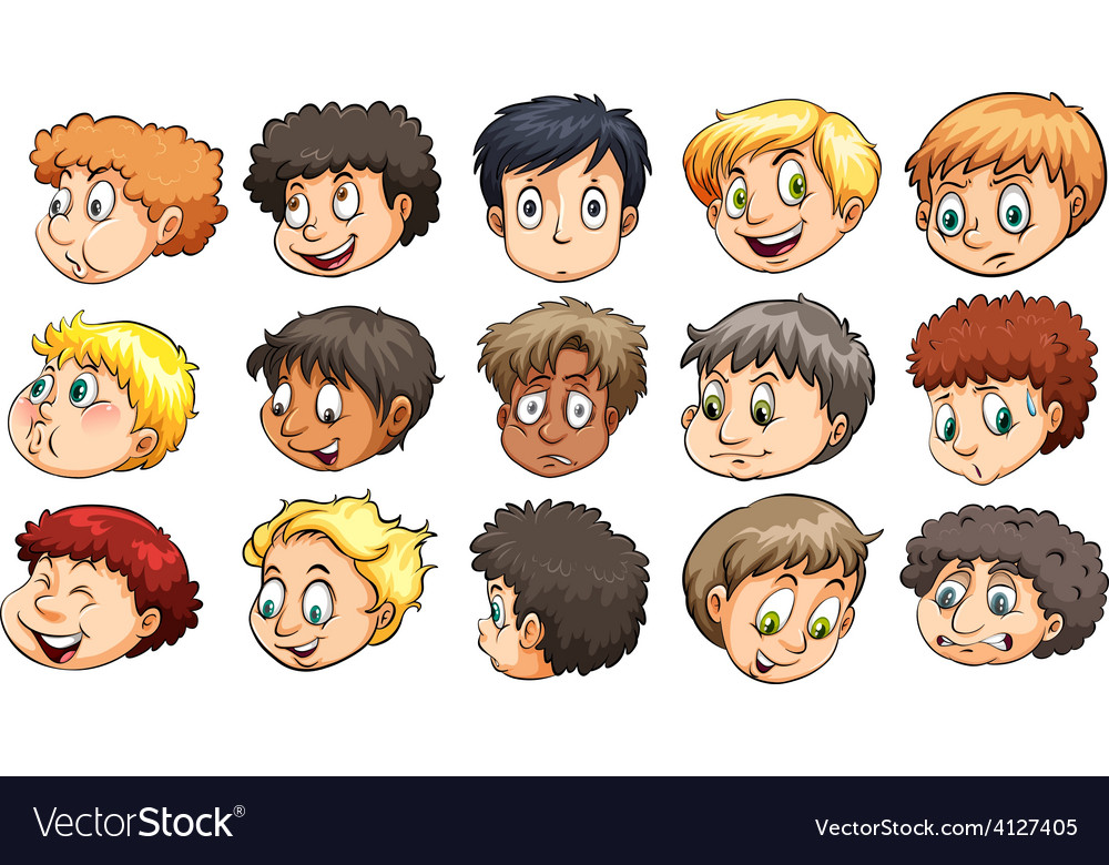 Heads of young boys vector image